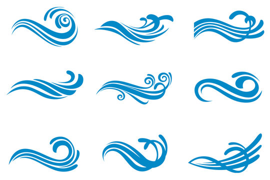 collection with abstract symbols of blue water splash