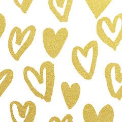 Golden hearts pattern glitter Valentine day white background