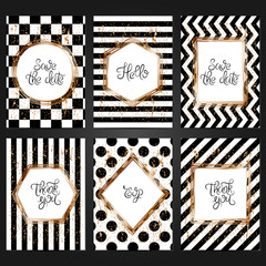 Collection of 6 vintage card templates  in black and white colors and with copper frame. For the wedding, marriage, save the date cards, invitations, greetings.