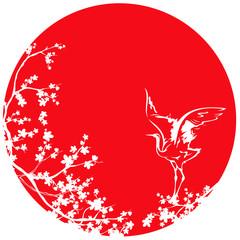white japanese crane and sakura tree against red sun vector desi