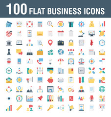 Vector  EPS 100 Business Icons flat with colors