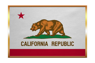 Flag of California , golden frame, fabric texture