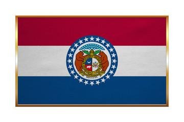 Flag of Missouri , golden frame, fabric texture