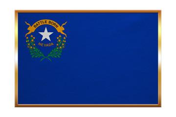Flag of Nevada, golden frame, fabric texture