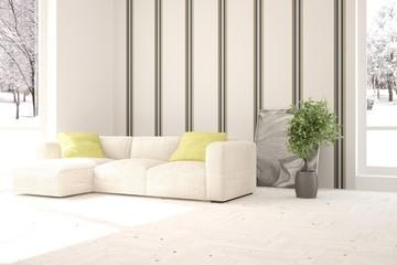 White living room interior with sofa. Scandinavian home design