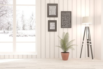 White living room interior with lamp