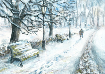 Winter park with a walking couple. Watercolor and gouache painting