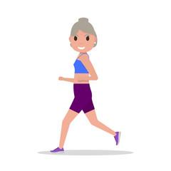 Vector flat cartoon old woman running jogging