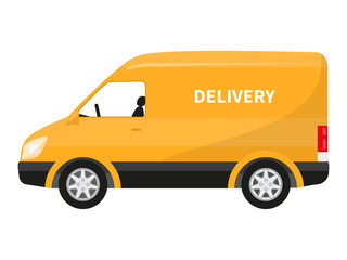 Vector flat icon cartoon yellow delivery truck