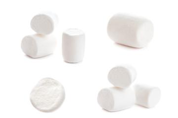 Fluffy white marshmallow macro isolated over white background. H