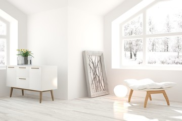 White living room interior with chair