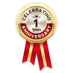 Red celebrating 1 year badge, rosette with gold border and ribbon