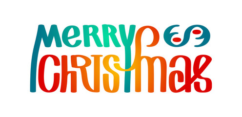 Merry christmas. Calligraphy clip-art, illustration. Suitable for poster or web banner. Isolated on white