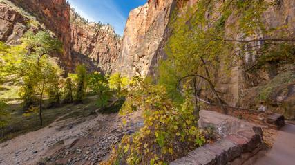 Beautiful paved hike along the Virgin River. Zion National Park, Utah, USA
