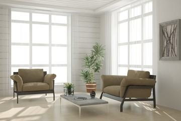 White living room interior with armchair