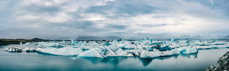 Icebergs gather in the glacial lagoons from the Vatnajokull