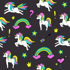 Seamless pattern with unicorns, rainbow, heart, crown and other elements.Vector background with stickers, pins, patches in cartoon 80s-90s comic style