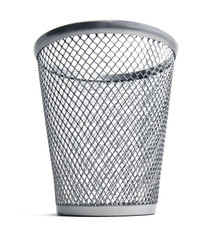Isolated trash bin on a white background.