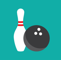 Bowling game pin ball design flat vector stock