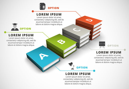 3D Book Stacks Element Infographic