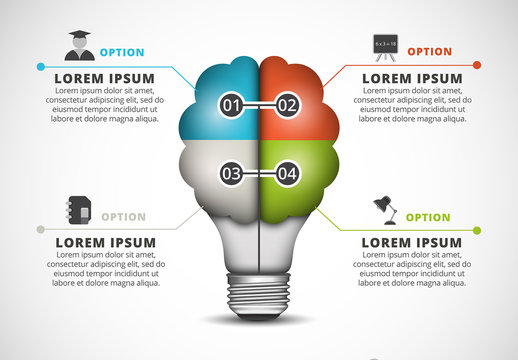 Flat Cloud and Light Bulb Element Infographic