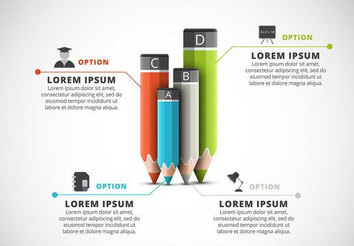 Four Pencil Element Infographic