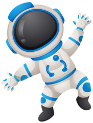 Spaceman in uniform on white background