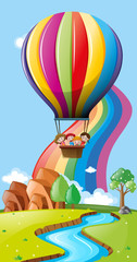 Scene with kids in hot air balloons