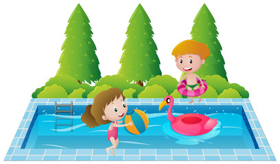 Two kids swimming in the pool
