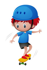 Little boy in blue helmet playing skateboard