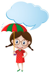 Speech bubble template with girl holding umbrella