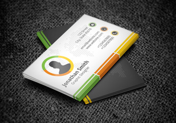 Business Card with Bottom Border Design Layout