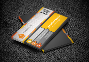 Business Card with Puzzle Piece Tabs Design Layout