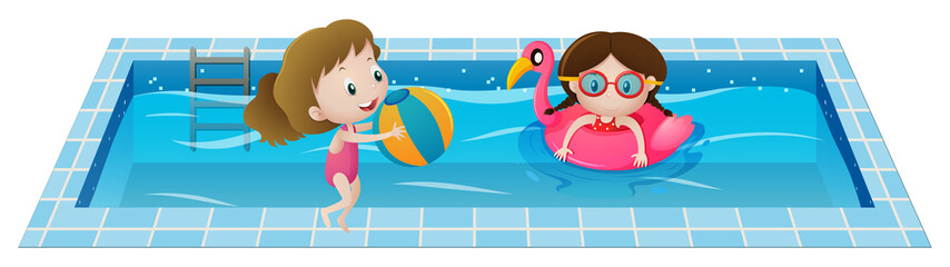 Two girls playing in the swimming pool