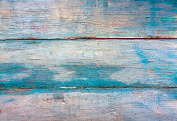 Blue weathered wooden wall texture.