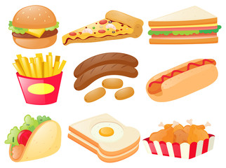 Set of different types of fastfood
