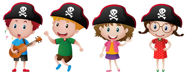 Kids wearing pirate hat