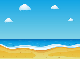 Beach scene with blue sky