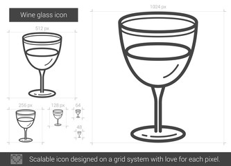 Wine glass line icon.