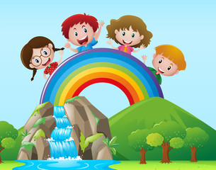 Four kids on the rainbow