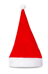 Red Santa Claus hat isolated on white background