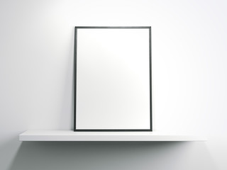 White shelf with blank frame. 3d rendering