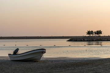 Boat on the beach in salalah oman sunrise time 2