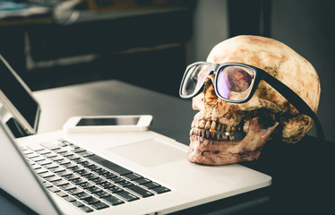 Dead Business man on office Laptop table