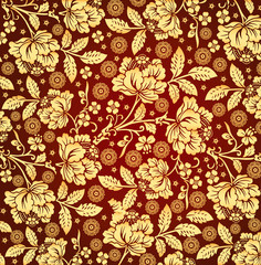Classic pattern. Beautiful golden floral. Vintage background with blooming flowers. Drawing, engraving. Freehand. Wallpaper. Vector victorian style Illustration.