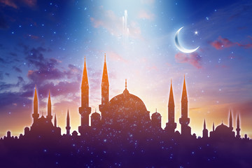 Mosque silhouettes, shiny moon and stars, muslim holy month, Ramadan Kareem