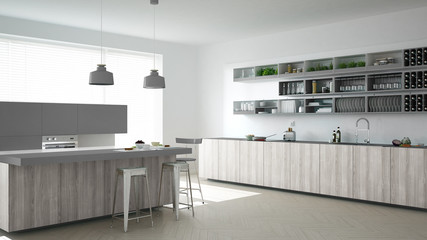 Scandinavian white kitchen with wooden and gray details, minimal