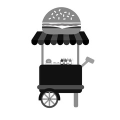 fast food cart icon over white background. vector illustration