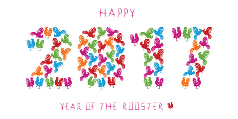 Greeting card for 2017, year of the rooster in the Chinese zodiac