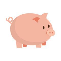 cute pink piggy money safety bank vector illustration eps 10